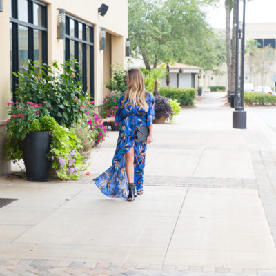 blue front slit maxi dress