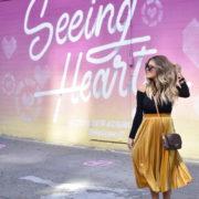 Mustard Velvet Pleated Skirt