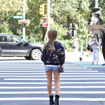 Floral bomber with booties and LV cross body